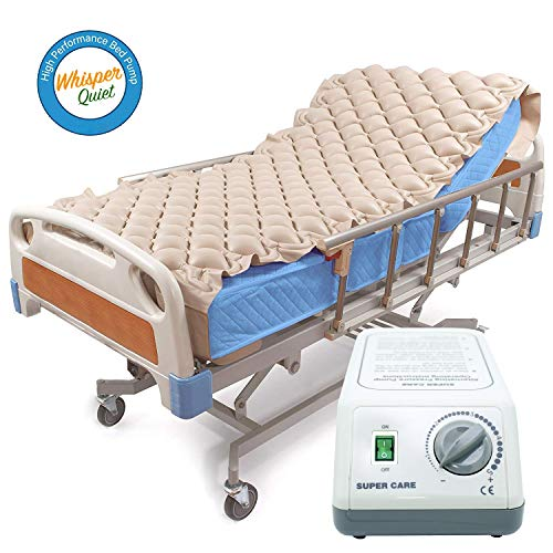 Alternating Pressure Mattress Pad & Electric Pump System, Medical Mattress for Bedsore Prevention and Pressure Ulcer Relief | Ultra Quiet Pump and Pad Topper | Fits Standard Hospital Bed