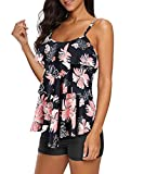 Zando Swimsuits for Women Floral Bathing Suits Two Piece Tankini Swimsuits with Boyshort Printed Ladies Swimsuits Tummy Control Swimwear Modest Tankini for Women Flounce Pink 2XL (US 14-16)