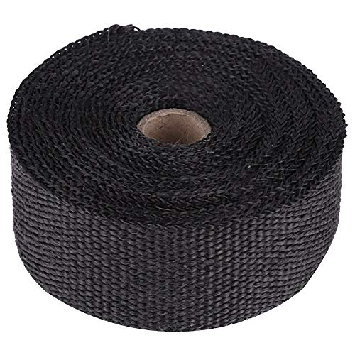 Qiilu Hitzeschutzband Basaltfaser Auspuffband mit 10 pieces Kabelbinder für Fächerkrümmer Thermoband Krümmerband (Schwarz-5M)
