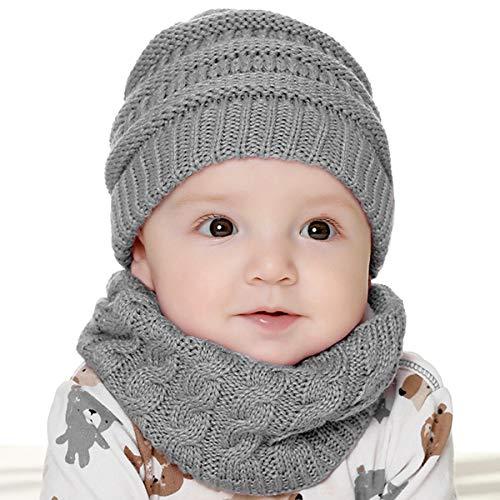 T WILKER Gorro de Invierno para Niños, Cálido Gorro y Bufanda con Forro Polar Juego de Invierno 2 en 1 para Niños y Niñas de 6 Meses a 18 Meses