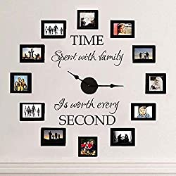 MairGwall Time Spent with Family is Worth Every Second - Family Lettering Vinyl Wall Decal - Without Clock and Picture Frame (Dark Brown, Medium)