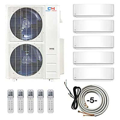 COOPER AND HUNTER 4 Zone 12000 12000 12000 24000 BTU Multi Zone Ductless Mini Split Air Conditioner Heat Pump WiFi Ready Full Set with 25ft Installation Kits