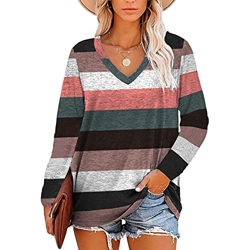 Bosanter Womens Tops Sexy V Neck, Long Sleeve Shirts for Teen Girls Striped Hoodies Pullover Casual Trendy Sweatshirts