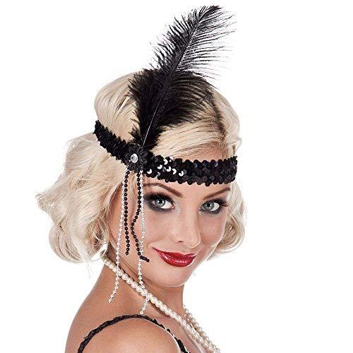 Boland 00620 - Stirnband Flapper, schwarz, Pailletten, Gummiband, Feder, weiße Perlen, Charleston, 20er Jahre, Chique, Karneval, Halloween, Fasching, Mottoparty, Verkleidung, Theater