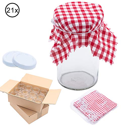 Flaschenbauer 21x Sturzgläser 277ml inkl. weiße Twist Off Verschlüsse & Baumwolldeckchen - Marmeladengläser zum Einmachen von Suppen, Babynahrung, oder zur Aufbewahrung von Tee und Kräuter