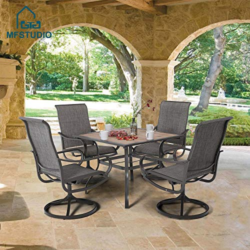 MFSTUDIO 2 Pieces Patio Metal Dining Swivel Chairs Bistro Backyard Rocker Chairs Weather Resistant Garden Outdoor Furniture, Sling Mesh Brown Steel Frame, Grey
