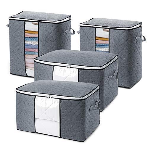 Zebbyee 4 Stück Aufbewahrungstasche, Groß Faltbare Kleideraufbewahrung mit Reißverschluss und verstärktem Griff, Unterbett Aufbewahrungsbeutel für Bettwäsche/Kleidung/Decken/Kissen/Bettdecken, Grau
