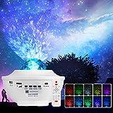 AIORX Lampara Proyector Estrellas, Proyector de Luz Estelar 21 Modos Lámpara de Nocturna Estrellas con Altavoz de Música Bluetooth/Temporizador/Remoto para Dormitorio Infantil Cumpleaños (Blanco)