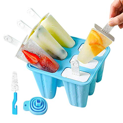 Mighty Planet Silicone Popsicle Molds Ice Pop Molds 6 Pieces BPA Free Food Graded Reusable – Ice Cream Maker holder tray with Funnel and Cleaning Brush for Family Kids Baby
