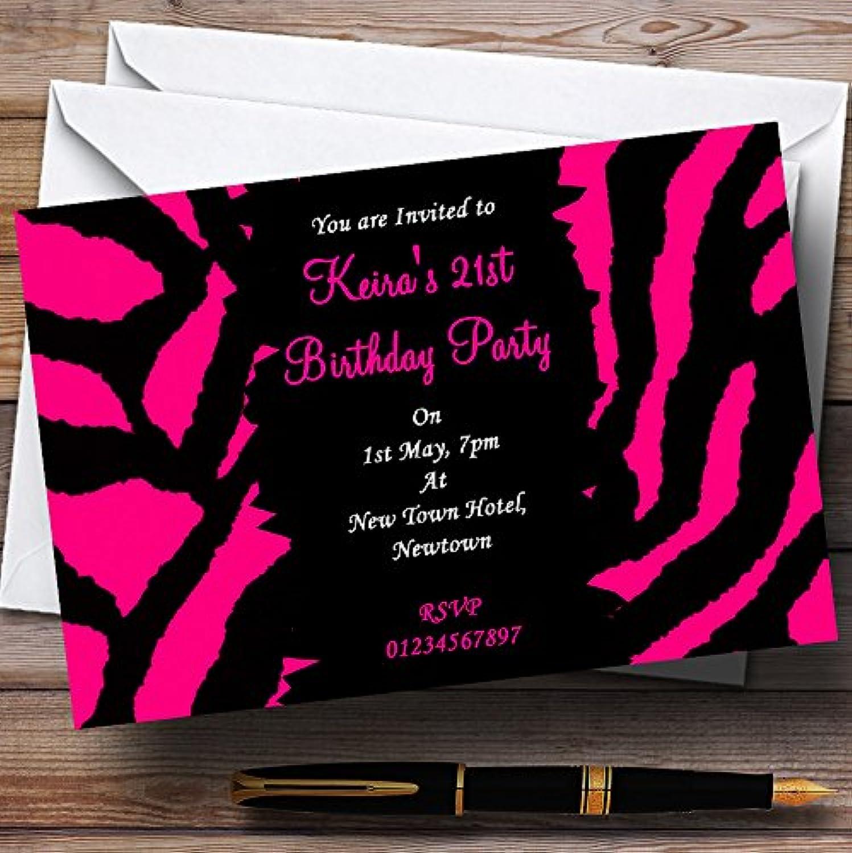 Hot Pink Zebra Print Personalised Party Invitations   Invites & Envelopes