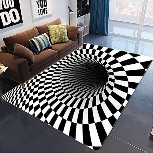 RJIANRA Alfombras Salon Agujero Negro de Cebra 3D Diseño Moderna Retro Geométrica Grande Tapete para Piso Dormitorio Decoración del Hogar Comedor Niños Abstracto Tradicional Suaves Rugs R923 80X160cm
