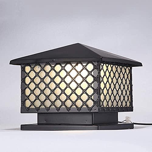 MAMINGBO Victoria Vintage Plaza Pilar E27 lámpara tradicional Negro de aluminio de cristal Poste al aire libre luz de la linterna de jardín rústico poste de la cerca del bolardo columna de luz