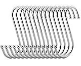 vipith 20unidades Metal en forma de S de acero inoxidable S ganchos para colgar perchas de servicio pesado ganchos con extremos de bola para cuchara Pan Pot toalla de cocina dormitorio baño oficina