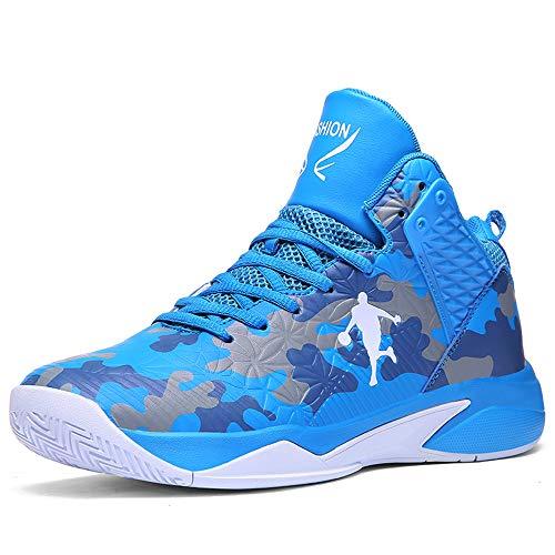 CXQWAN Chaussures de Basket-Ball Hommes, Haut Baskets Basses Sports Marche Chaussures de Course Haute Elasticité Non-Slip Convient pour Venues en Plastique intérieur et extérieur,Bleu,41