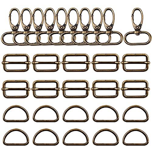 Trsnzul Karabiner für Taschen 30 Stück Taschenzubehör zum Nähen 32mm D-Ringe Schiebeschnalle Drehbare Karabinerhaken Metall Taschenkarabiner für DIY Tasche Gurt Bronze