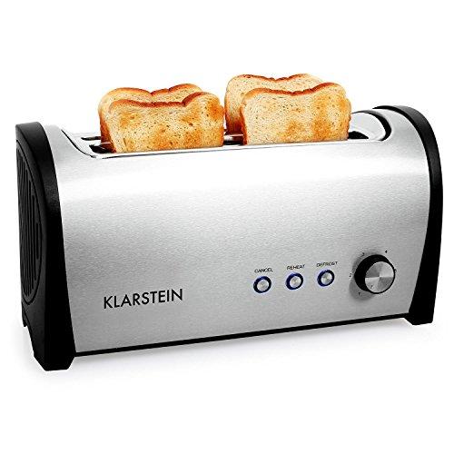 Klarstein Cambridge - Toaster, Doppel-Langschlitz-Toaster, 4-Scheiben-Toaster, Edelstahl, Brötchenaufsatz, Aufwärm-Funktion, Brotlift-Funktion, Abbruch-Taste, 1400 Watt, silber