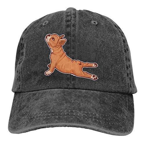 Lkbihl French Bulldog Yoga Dog Unisex Adult Cap Adjustable Cowboys Hats Baseball Cap Fun Casquette Cap Black