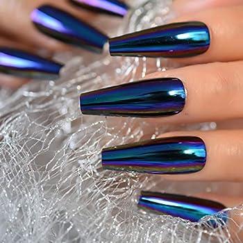 EchiQ Chrome Diamond Blue Press On Fingernails Coffin Metallic Mirror Holo Fake Nails Extra Long Ladies Designed Tips for Finger