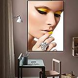 N / A Fashion Girl Makeup Pittura a Olio su Tela Bellissimi Poster e Stampe d'Arte Immagini su Parete Soggiorno Senza Cornice Pittura 60cmX90cm