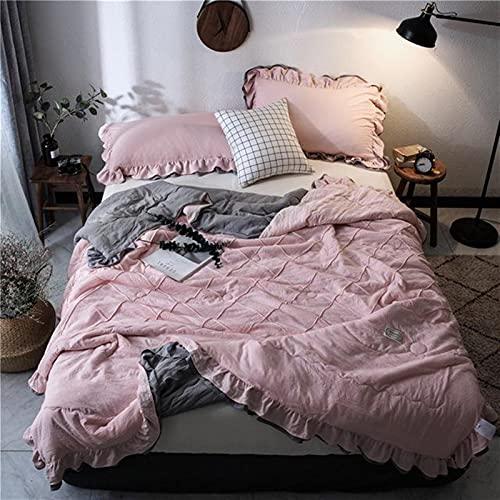 YYGQING Pink Lindo Lavado Veersucker Lilt Edredones Mantas Acolchadas Colchas Cubierta Cama DE Cama DE Cama DE Cama Edredón Fresco de Verano (Color : Style4, tamaño : 150x200cm)