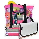 Beach Bag with Lightweight Fold Up 5'x6'Beach Mat & built-in...