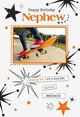 Nephew Jongen Op Plezier Gevuld Skateboard Park & Star Design Gelukkige Verjaardagskaart