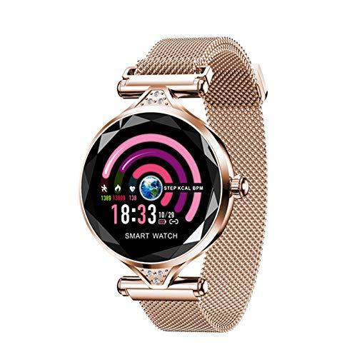 QKA Reloj Inteligente, Moda para Mujer H1, Monitor De Frecuencia Cardíaca, Reloj Inteligente para Mujer, Podómetro, Pulsera De Fitness, Reloj Impermeable para Mujer,A