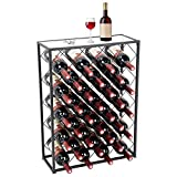 D4P Display4top Botellero con Tablero para 32 Botellas para Vino Estante de Vino con Mesa...