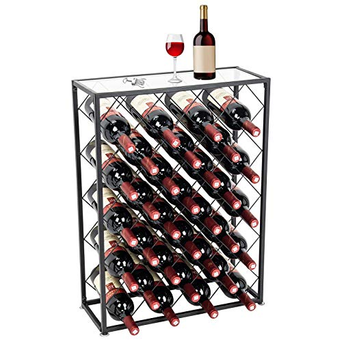 D4P Display4top Botellero con Tablero para 32 Botellas para Vino Estante de Vino con Mesa de Vidrio, Ideal para Bar Bodega de vinos Sótano Gabinete Despensa Despensa Cocina, Negro