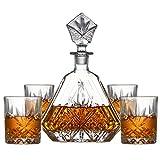 GAOXIAOMEI Juego De Regalo De Jarra Y Vaso De Whisky (5 Piezas) - Decantador De Cristal, Vasos De Whisky, Decoración De Oficina, Regalo para Hombres para Licor, Whisky, Bourbon, Brandy, Vodka