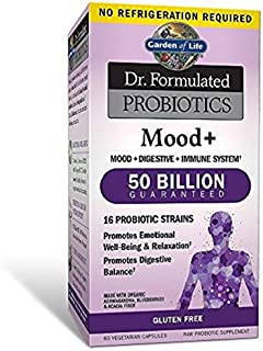 Garden of Life Dr. Formulated Probiotics Mood+ - Acidophilus Probiotic Supplement - Promotes Emotional Health, Relaxation, Digestive Balance - Non-GMO, NSF Gluten Free - 60 Vegetarian Capsules