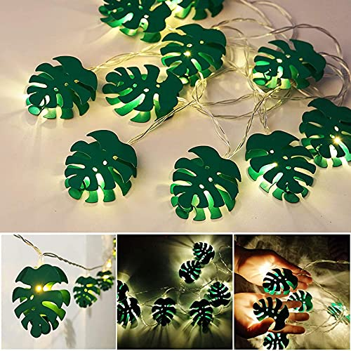 ASKI Leaf String Lights, String Lights 6.56ft 10-led Hanging Light String Lights With Green Leaves, Used For Outdoor Feasts In Green Decorated Bedrooms