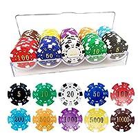 YLXTポーカーチップ 重量感 カジノチップ(5点~10000点)額面付き 得点管理が容易 本格カジノ pokerチップ ゲーム用 高級感 盛り上がるルーレット/バカラ/ブラックジャック プロ仕様 10色(各色10枚, 計100枚セット) 専用ケース付き