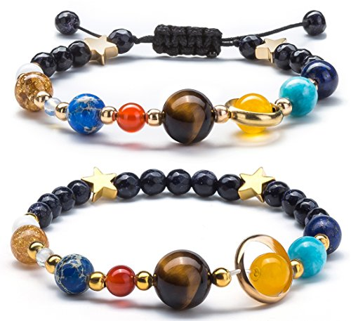 Fesciory Women Men Solar System Bracelet Universe Galaxy The Eight Planets Guardian Star Natural Stone Beads Bracelet Bangle(2 Pcs Set)