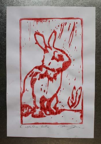 Das rote Kaninchen- Original künstlerischer Stich, handgedruckt auf Papier, Maße cm 21,2x29,5x0,1 cm Hergestellt in Italien, Toskana Lucca, erstellt von Davide Pacini.