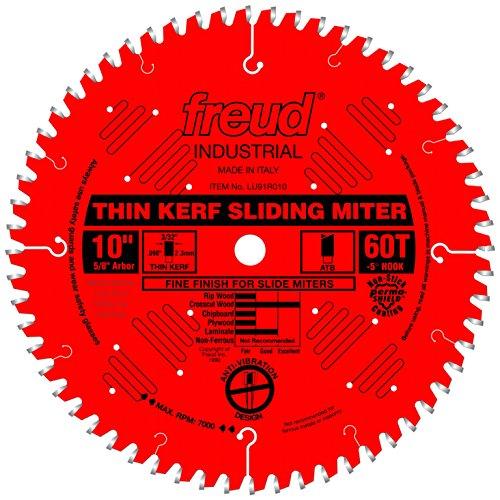 "Freud 10"" x 60T Thin Kerf Sliding Compound Miter Saw Blade (LU91R010)"