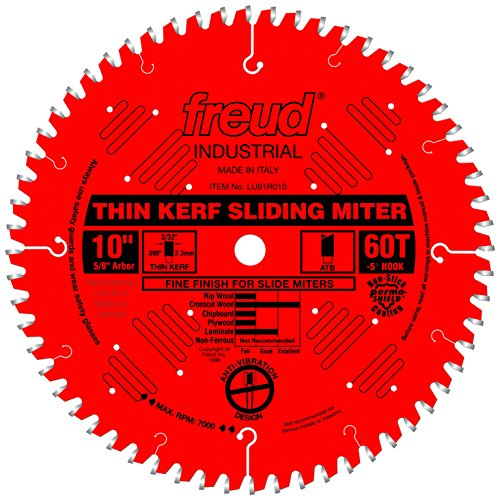 "Freud 10"" x 60T Thin Kerf Sliding Compound Miter Saw Blade (LU91R010)"