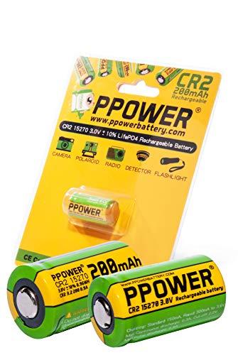 2 pilas recargables PPOWER 3 V de capacidad real de 200 mAh CR2 15270 15266 LiFePO4