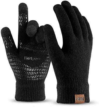 Winter Knit Gloves For Men And Women Touch Screen Texting Soft Warm Thermal Fleece Lining Gloves product image