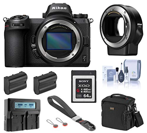 Nikon Z7 FX-Format Mirrorless Digital Camera Body Only, Complete Bundle with FTZ Mount Adapter, 64GB XQD Card, 2 Extra Battery, Dual Charger and Accessories