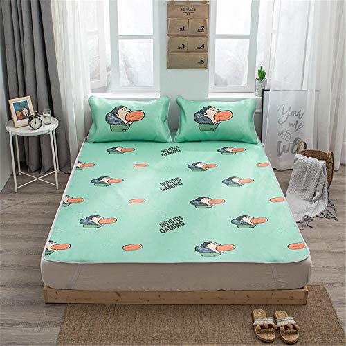 Qiutianchen Ice Silk Matte Sommer Schlafmatte Sommer Matte dumm Pad Rattan Luftmatratze Schlafmatte Ice Silk dreiteiligen Anzug@Hot Dog_150 * 200cm dreiteiliges Set