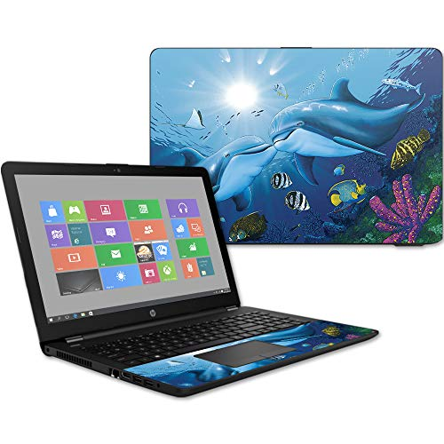 MightySkins Skin Compatible with HP 15t Laptop 15.6' (2017) - Kissing Dolphins | Protective, Durable, and Unique Vinyl Decal wrap Cover | Easy to Apply, Remove, and Change Styles | Made in The USA