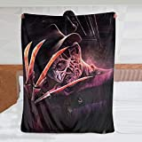Horror Movies Freddy Krueger Blanket Ultra Soft Throw Blanket Flannel Fleece,Soft Fuzzy Blankets Plush Sheet, Flannel Holiday Blanket for Baby Bed Couch Living Room 50'X40' Inch