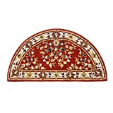 Minuteman International Burgundy Oriental Wool Hearth Rug, Half Round