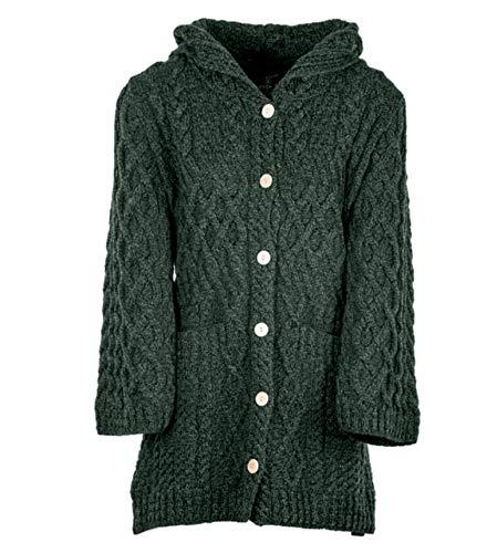 Damas - Lana de merino - Punto irlandés - Cárdigan largo con capucha y bolsillos delanteros - Verde - X-Large