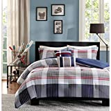 DH 5 Piece Boys Grey Red Navy Blue Madras Glen Plaid Theme Comforter Full Queen Set, Stylish All Over Tartan Check Plaided Bedding, Horizontal Vertical Stripe Lodge Cabin Themed Pattern