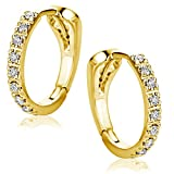Orovi Orecchini Donna Cerchio in Oro Giallo con Diamanti Taglio Brillante Ct 0.10 Oro 18 kt /750
