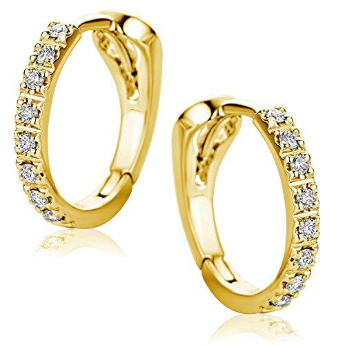Orovi Damen Diamant Gold Creolen Ohrringe Gelbgold 18 Karat (750) Ohr-Schmuck Brillianten 0.10ct