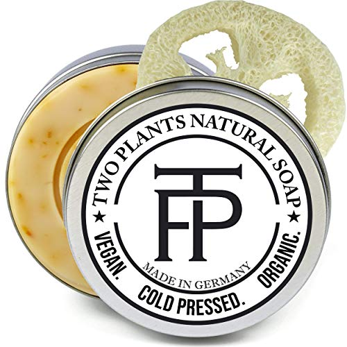 [SET] Golden Energy Naturseife | Pflegende Seife für Gesicht + Make up Entferner Seife | 100% natürliche, vegane, handgemachte Seife | Gratis Seifenbox, Seifenablage | von Two Plants