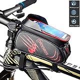 Singertop自転車トップチューブバッグ フレームバッグ 大容量 PU材質 防水耐磨 日除け 自転車 バッグ 軽量 スマホホルダー ナビホルダー 6.0インチスマホ対応 (赤)